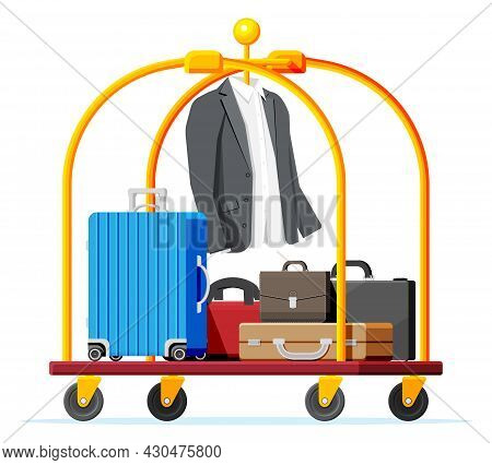 Hotel Luggage Cart With Briefcase, Suit And Suitcase. Hotel Baggage Trolley Full Of Bags Isolated. H
