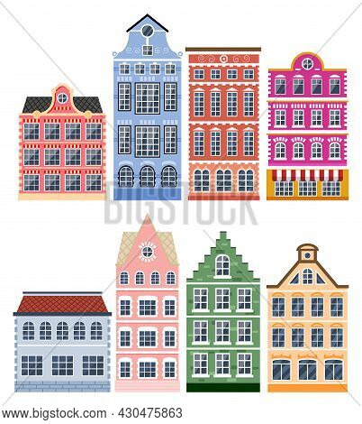 Residential House Icon Collection In Dutch Style. Amsterdam Old Building Set Isolated. Historic Faca