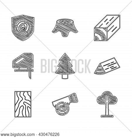 Set Christmas Tree, Hand Saw And Log, Tree, Wooden Beam, Electric Jigsaw, And Logs Icon. Vector