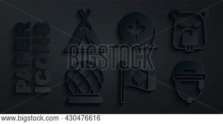 Set Flag Of Canada, Beaver Animal, Montreal Biosphere, Hockey Helmet, Canadian Maple Leaf And Indian