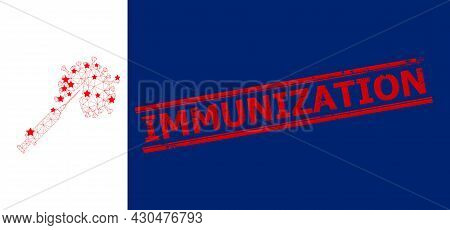 Mesh Virus Vaccine Injection Polygonal Icon Vector Illustration, And Red Immunization Textured Seal.