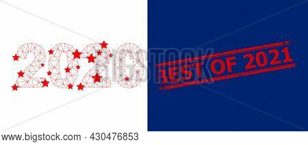 Mesh 2020 Year Digits Polygonal Symbol Vector Illustration, And Red Best Of 2021 Textured Stamp. Car