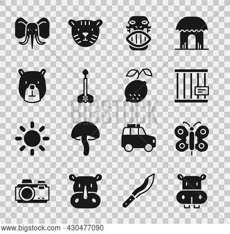 Set Hippo Or Hippopotamus, Butterfly, Animal Cage, Mexican Mayan Aztec Mask, Arrow, Bear Head, Eleph