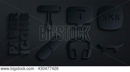 Set Headphones, Skateboard, Broken Skateboard Deck, T Tool And Icon. Vector