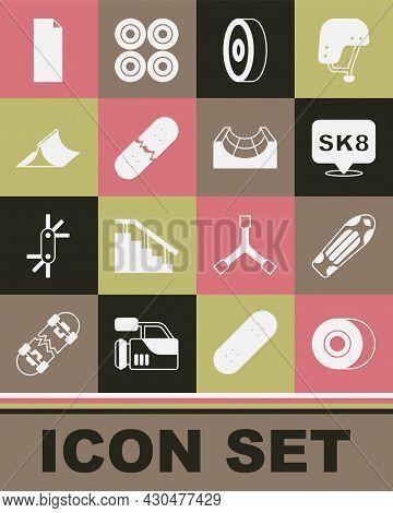 Set Skateboard Wheel, Deck, Ball Bearing, Broken Skateboard, Park, Grip Tape On And Icon. Vector