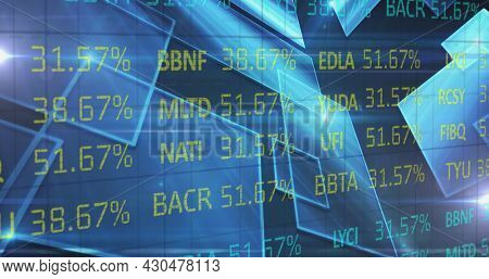 Image of stock exchange financial data processing over glowing blue squares. digital interface global connection and finance concept digitally generated image.