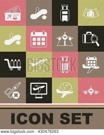 Set Plane, Calendar And Airplane, Lost Baggage, Suitcase, Escalator Down, Airline Ticket And Icon. V