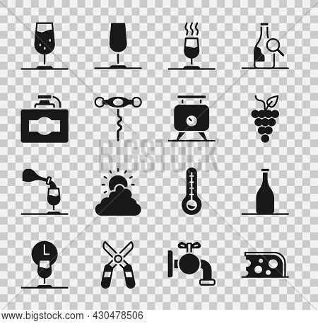 Set Cheese, Bottle Of Wine, Bunch Grapes, Wine Tasting, Degustation, Corkscrew, Cardboard Box, Glass