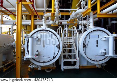 Close Up Of Pipeline Oil And Gas Refinery Plant Form Industry Zone , Oil And Gas Industrial Concept.