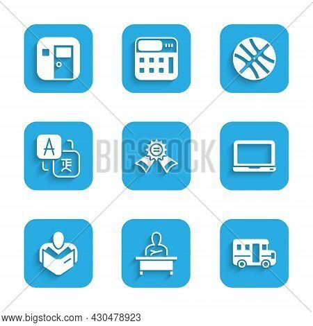 Set Medal, Schoolboy Sitting At Desk, Bus, Laptop, Man Reading Book, Translator, Basketball Ball And