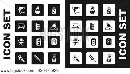 Set Barber Shop Pole, Hairbrush, Coffee Cup, Dryer, Client In Barbershop, Hairdresser Pistol Spray B