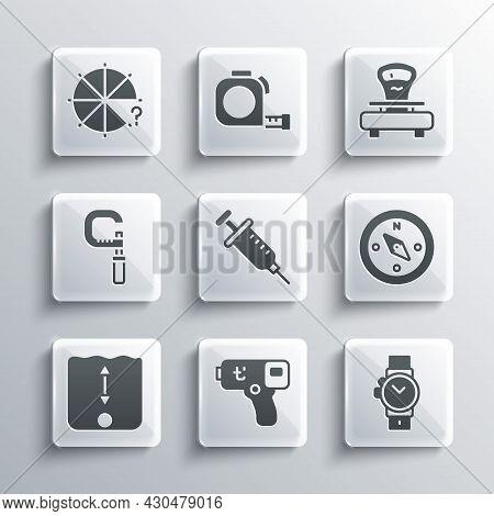Set Digital Thermometer, Wrist Watch, Compass, Syringe, Depth Measurement, Micrometer, Circle Of Pie