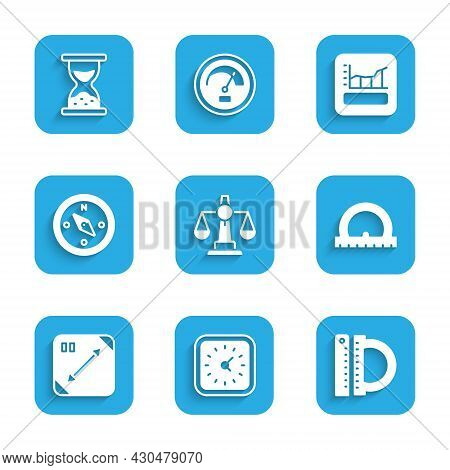 Set Scales Of Justice, Clock, Protractor And Ruler, Diagonal Measuring, Compass, Graph, Schedule, Ch