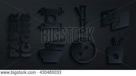 Set Yin Yang, China Flag, Asian Noodles Bowl, Noodles Box And Chopsticks, Bamboo And Decree, Paper,