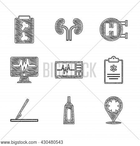 Set Monitor With Cardiogram, Ointment Cream Tube Medicine, Location Cross Hospital, Clinical Record,