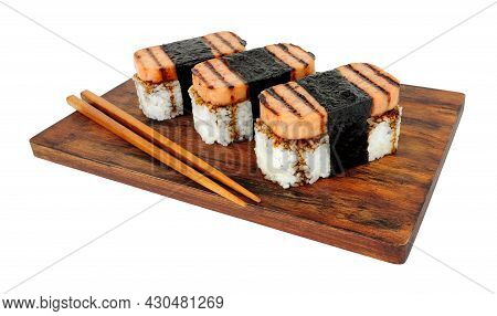 Spam Musubi With Grilled Pork Luncheon Meat And Sushi Rice Wrapped With Roasted Seaweed Nori Isolate
