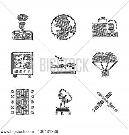 Set Plane Landing, Radar, Marshalling Wands, Box Flying On Parachute, Airport Runway, With Targets M