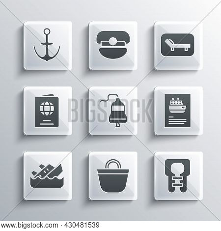 Set Beach Bag, Life Jacket, Cruise Ship, Ship Bell, Sinking Cruise, Passport, Anchor And Sunbed And