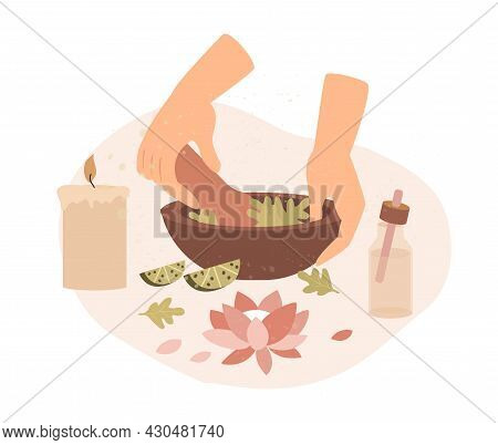 Herbal Aroma Therapy Concept. Women Hands Grind Plants And Make Therapeutic Ointment With Pleasant A