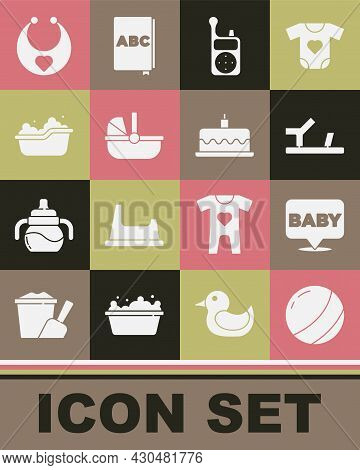 Set Beach Ball, Baby, Shoes, Monitor Walkie Talkie, Stroller, Bathtub, Bib And Cake With Burning Can