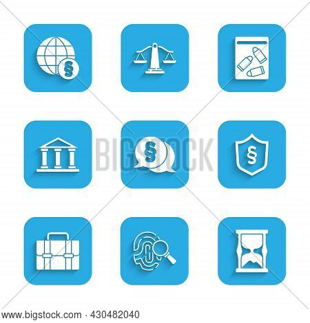 Set Law, Fingerprint, Old Hourglass, Justice Law Shield, Briefcase, Courthouse Building, Evidence Ba