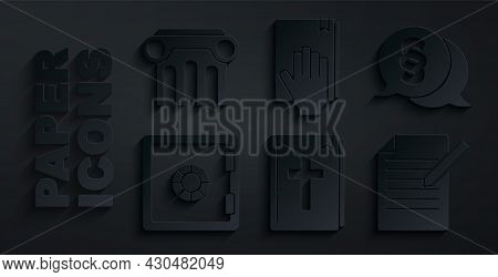 Set Holy Bible Book, Law, Safe, Document And Pen, Oath On The Bible And Pillar Icon. Vector