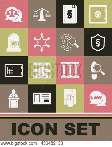 Set Law, Footsteps, Justice Law In Shield, Book, Hexagram Sheriff, Flasher Siren, Scales Of Justice