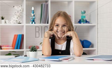 Happy Teen Girl At School Lesson In Classroom Wear Uniform, Education