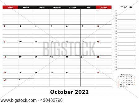 October 2022 Monthly Desk Pad Calendar Week Starts From Sunday, Size A3. October 2022 Calendar Plann