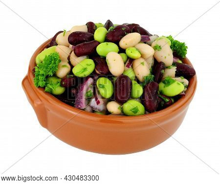Bowl Of Fresh Three Bean Salad Isolated On A White Background