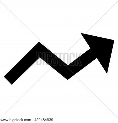 Growing Trend Arrow Icon With Flat Style. Isolated Vector Growing Trend Arrow Icon Image On A White