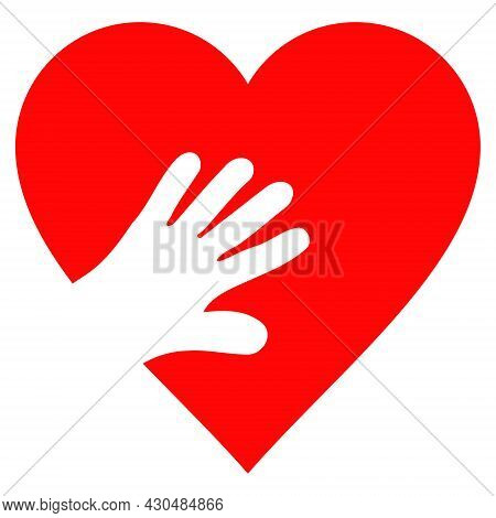 Hand Touch Heart Icon With Flat Style. Isolated Vector Hand Touch Heart Icon Image On A White Backgr