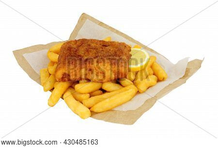 Battered Cod Fish And Chips Meal Wrapped In Brown Paper Isolated On A White Background