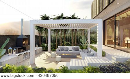 3d Render Pf Luxury Villa With Wooden Outdoor Patio And White Motorized Bio Climatic Pergola. Barbec