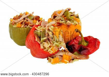 Bacon And Rice Stuffed Sweet Bell Peppers Isolated On A White Background