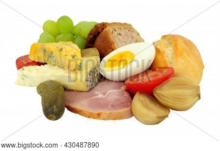 Ploughmans Lunch With Cheese, Ham, Boiled Egg And Pickles Isolated On A White Background