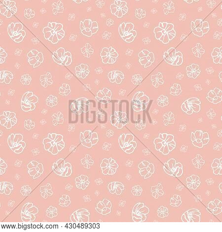 Simple Pink Flower Pattern Texture Background. Cute Floral Print With Spring Flowers. Vector