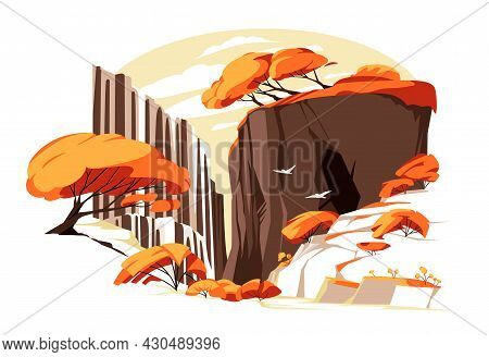 Waterfall In Autum Rock. Vector Illustration. Flat Colorful Panoramic Landscape With River Water Fal