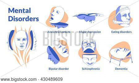 Psychic Problems Vector Illustration Of Planes. Human Masks With Small Emotions Symbolize The Most P