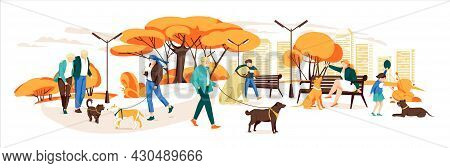 People Walking With Dogs In Autumn Urban Park. Vector Landscape In Cartoon Style. Urban Park With Do