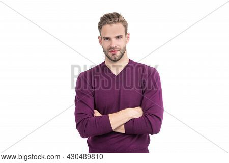 Confident Guy Wear Casual Fashion Pullover Keeping Arms Crossed Isolated On White, Confidence