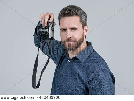 Photography Is My Hobby. Unshaven Man Hold Photo Camera. Hobby Concept