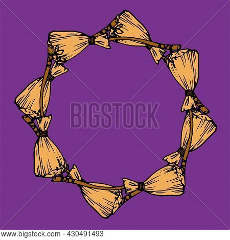 Vector Round Frame Made Of A Witchs Broom. An Empty Template Made Of A Doodle-style Broom Made Of Ye