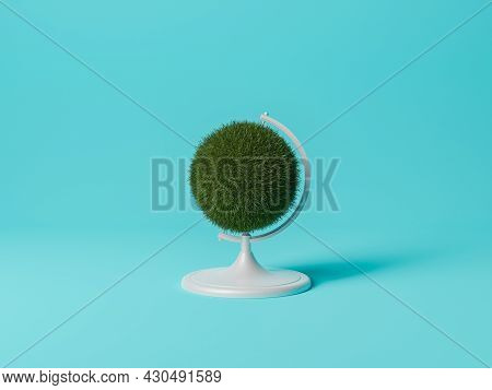 Grass Earth Globe On Blue Background. Minimal Concept Of Ecology And Environment. 3d Rendering