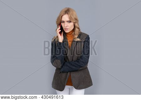 Organize Your Life. Serious Woman Talk On Cellphone. Making Phone Call. Telephone Call
