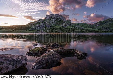 Sunrise At Lagos De Covadonga National Park In Asturias, Spain