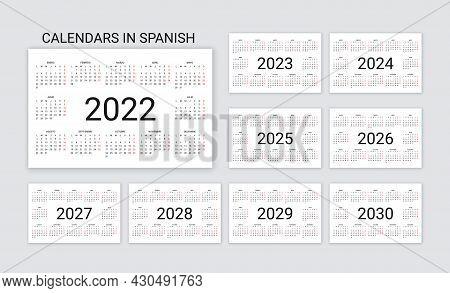 Spanish Calendar 2022, 2023, 2024, 2025, 2026, 2027, 2028 Years. Vector. Week Starts Monday. Desk Or