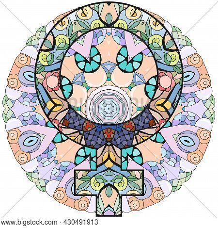 Vector Handdrawn Illustation Of Venus Sign On Mandala. Horoscope Signs, Magic Symbols, Icons. Astrol