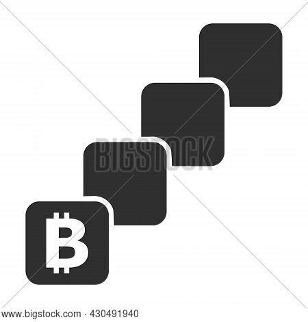 Bitcoin Blockchain Icon With Flat Style. Isolated Vector Bitcoin Blockchain Icon Image On A White Ba