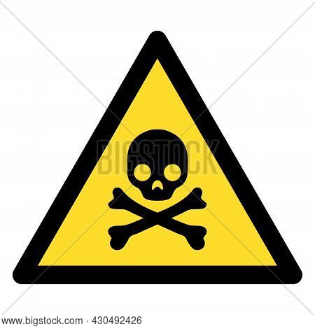 Death Warning Icon With Flat Style. Isolated Vector Death Warning Icon Image On A White Background.